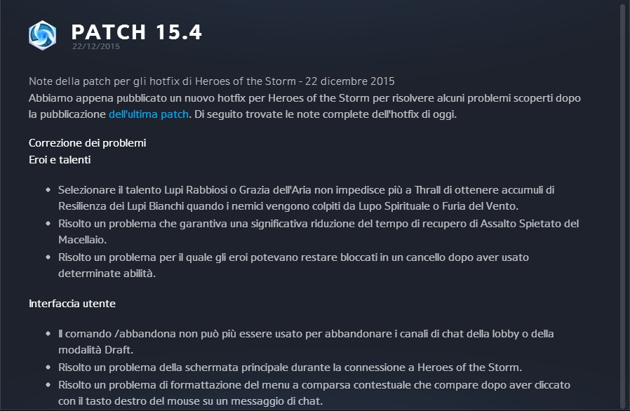 Heroes of the Storm hotfix 22 - 12 - 2015