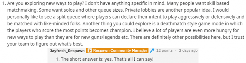La risposta del community manager di Respawn.